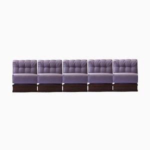 Italian Five-Seater Sectional Gooseneck Sofa, 1970s