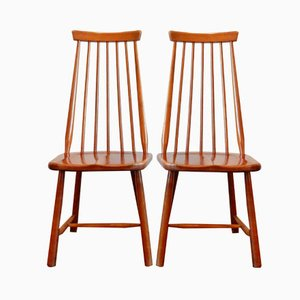 Vintage Solid Wooden Chairs, Set of 2