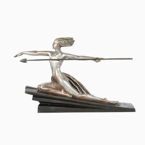 Amazone Art Deco Bronze Figur von Marcel-André Bouraine für Edmund Etling, 1925