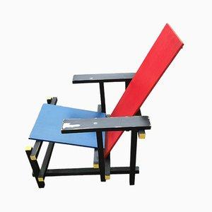 Side Chair aus Holz in Rot & Blau von Gerrit Rietveld für Cassina, 1980er
