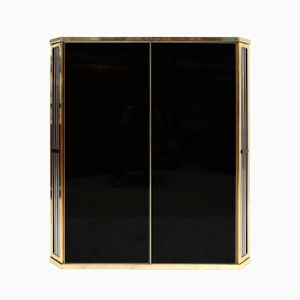 French Black Glass & Brass Cabinet from Roche Bobois, 1970s