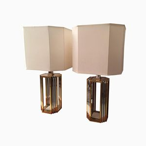 Italian Chrome and Brass Table Lamps by Romeo Rega, 1970s, Set of 2