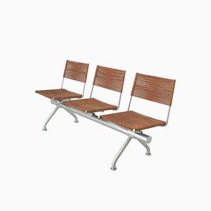 Sitzbank aus Leder und Metall mit drei Stühlen, 1970er