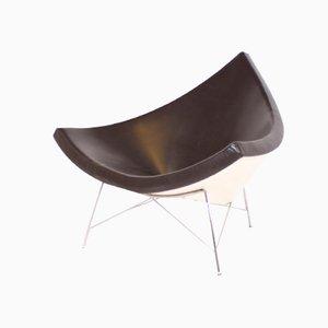 Kokosnuss Stuhl in Braunem Leder von George Nelson für Vitra
