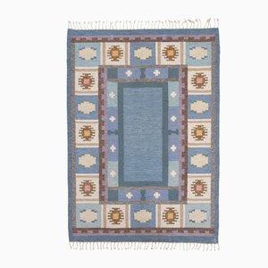 Schwedischer Mid-Century Flachgewebter Teppich von Ingegerd Silow