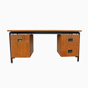 Dutch Teak and Black Steel Desk by Cees Braakman for Pastoe, 1950s