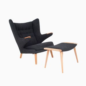 Danish Papa Bear Chair and Ottoman by Hans J. Wegner for AP Stolen, 1951