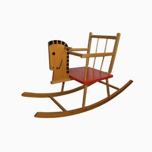 Cavallo a dondolo vintage in legno