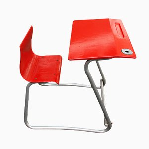 Red School Desk with Chair, 1950s