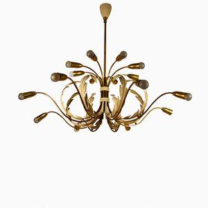 Mid-Century Italian 18-Light Brass Floral Chandelier