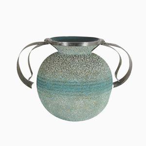 Italian Art Deco Ceramic and Steel Vase, 1920s