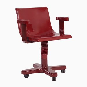 Dunkelroter Stuhl aus Kunststoff & Metall von Ettore Sottsass für Olivetti Synthesis
