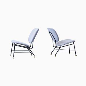 Stühle mit Messinggestell und Stoffsitz, 1950er, 2er Set