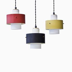 Lampes à Suspension Jaunes Rouges et Noires, 1950s, Set de 3