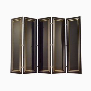 Segmented Black Plexiglas, Brass and Aluminium Room Divider, 1970s