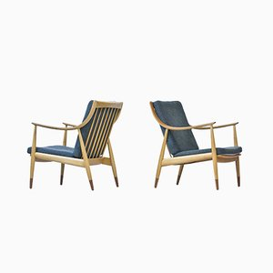 Danish Beech and Teak Easy Chairs by Hvidt & Mølgaard for France & Daverkosen, 1950s, Set of 2