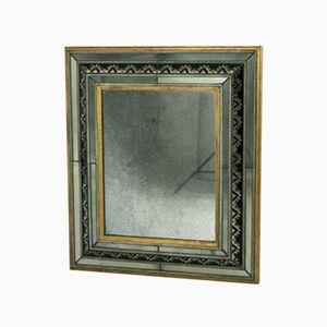 Italian Art Deco Brass, Metal & Glass Mirror, 1930s