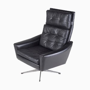 Black Leather Swivel Chair with Star-Shaped Stand, 1970s