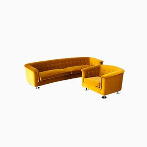 Mustard Living Room Set by Hans Kaufeld, 1970s