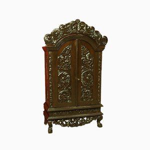 Indian Ornate Carved Armoire, 1950s