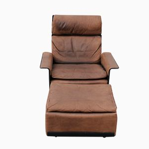 Brown Leather Lounge Chair and Ottoman by Dieter Rams for Vistoe