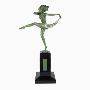Figura Art Déco viennese in bronzo e marmo di Josef Lorenzl, 1930