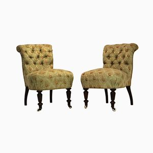 Green Vintage Easy Side Chairs, Set of 2