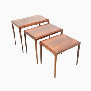 Rosewood Nesting Tables by Johannes Andersen for Silkeborg, 1960, Set of 3