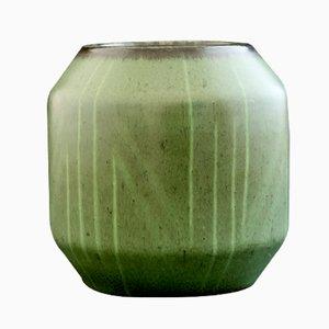 Green Stoneware Vase with Geometric Design by Einar Lynge Ahlberg for Rörstrand, 1950s