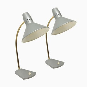 Grey Desk Lamp by H. Busquet for Hala Zeist, 1960s