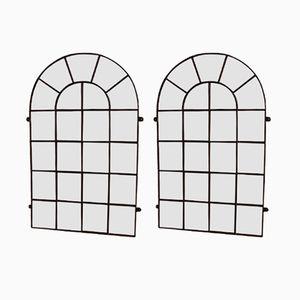 Große Antike Spiegel mit Industriellem Fensterrahmen aus Stahl, 2er Set