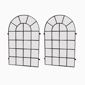 Large Antique Industrial Iron Window Frame Mirrors, Set of 2