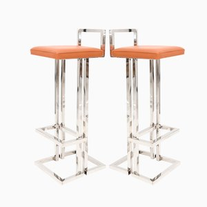 French Chrome Bar Stools by Maison Jansen, 1980s, Set of 2