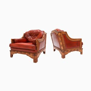 Red Leather & Bamboo Club Chairs, 1960s, Set of 2