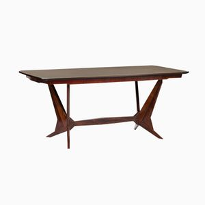 Italian Mid-Century Rosewood Dining Table with Glass Top