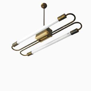 Deckenlampe aus Messing mit Neonröhren, 1950er