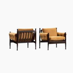 Mid-Century Italian Wooden Armchairs, Set of 2