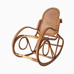 Dutch Vintage Bamboo Rocking Chair, 1960s