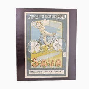 Belgisches Vintage Fahrrad Litographie Poster von F. Collins