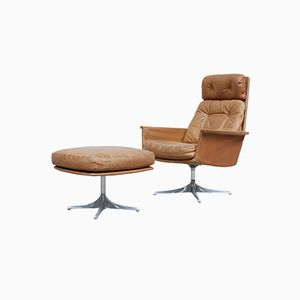 Model Sedia Swivel Lounge Chair and Ottoman by Horst Brüning for Cor