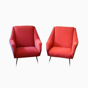 Red & Blue Italian Armchairs, 1950s, Set of 2