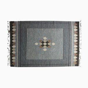 Schwedischer Grauer Rölakan Flachgewebe Teppich von Ingegerd Silow