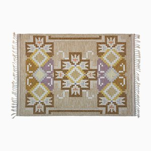 Swedish Beige Flat Weave Rölakan Carpet by Ingegerd Silow