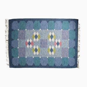 Swedish Blue Flat Weave Rölakan Carpet by Ingegerd Silow