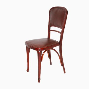 Austrian No 491 Beech and Leather Chair from Thonet