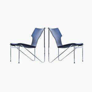 Schwedische Chrom, Holz & Leder Easy Chairs von Sigurd Persson für Åry Stålmöbler, 1968, 2er Set