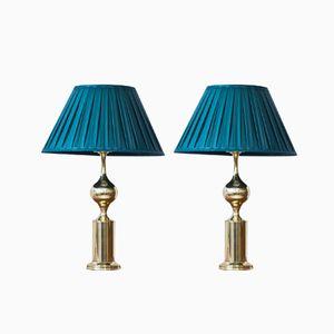 Schwedische Messing & Seide Tischlampen von Aneta, 1960er, 2er Set