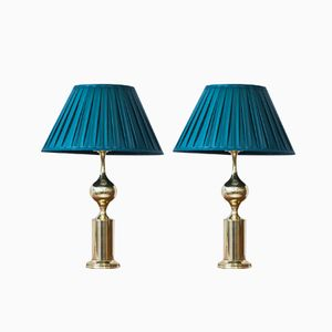 Swedish Brass & Silk Table Lamps from Aneta, 1960s, Set of 2