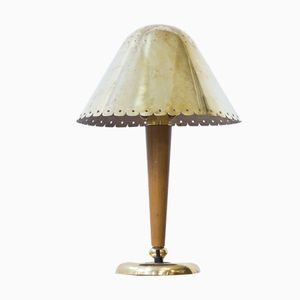 Swedish Beech & Brass Table Lamp by Böhlmarks, 1940s