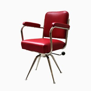 Chrome and Red Leather Desk Chair, 1930s